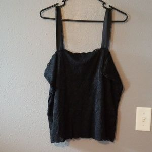 Black lace tank with wide straps